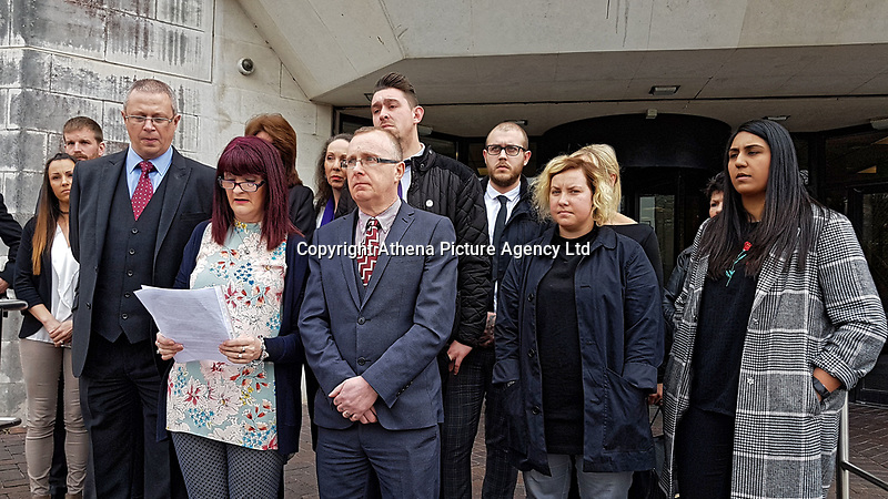 "Pictured: Tracy Kennedy (2nd L) and Paul (C) the parents of Kelly Kennedy reading a statement outside Swansea Crown Court after the sentencing. Monday 16 April 2018<br /> Re: Two young drivers who were racing each other along a main road when they killed a woman in an horrific head-on smash, have been jailed by SWansea Crown Court.<br /> Kelly Kennedy, 25, died at the scene of the crash on the main Swansea Valley road as she drove home from work.<br /> 23 year old Liam Price, had previously pleaded guilty to causing death by dangerous driving but co-defendant, Cory Kedward, also 23, denied the charge - he claimed he had not been involved in racing or any kind of ""competitive driving"".<br /> A jury found him guilty by a majority verdict following a six-day trial at Swansea Crown Court.<br /> Miss Kennedy was killed on the evening of July 4, 2016, on the A4067 between Pontardawe and Glais in south Wales. She was travelling to her home in Clydach, and travelling in the opposite direction to Price and Kedward.<br /> After driving past the Glais roundabout, Price in his turquoise Honda Civic Sport, and Kedward in his black Vauxhall Astra SRi, began racing each other."