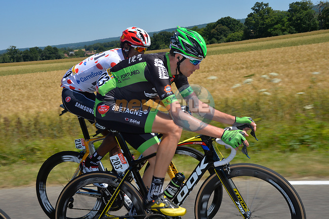 Anthony Delaplace (FRA) Bretagne-Seche and Daniel Teklehaimanot (ERI) MTN-Qhubeka part of the breakaway group during Stage 7 of the 2015 Tour de France running 190.5km from Livarot to Fougeres, France. 10th July 2015.<br /> Photo: ASO/B.Bade/Newsfile