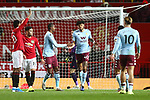 Tyrone Mings of Aston Villa celebrates scoring his sides second goal during the Premier League match at Old Trafford, Manchester. Picture date: 1st December 2019. Picture credit should read: Phil Oldham/Sportimage