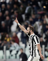 Calcio, Serie A: Juventus - Atalanta, Torino, Allianz Stadium, 14 marzo 2018. <br /> Juventus' Gonzalo Higuain celebrates after scoring during the Italian Serie A football match between Juventus and Atalanta at Torino's Allianz stadium, March 14, 2018.<br /> UPDATE IMAGES PRESS/Isabella Bonotto