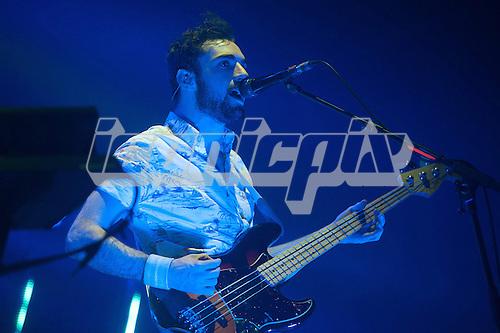 Two Door Cinema Club - bassist Kevin Baird - performng live at Alexandra Palace in London UK - 27th April 2013.   Photo credit: Justin Ng/Music Pics Ltd/IconicPix
