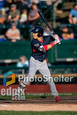 24 August 2019: Lowell Spinners infielder Alex Erro in action against the Vermont Lake Monsters at Centennial Field in Burlington, Vermont. The Spinners rallied in the 9th inning to overcome a 2-1 deficit and defeat the Lake Monsters 3-2 in NY Penn League play. Mandatory Credit: Ed Wolfstein Photo *** RAW (NEF) Image File Available ***