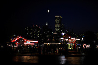 Navy Pier lights with the city skyline in the background in Chicago, Illinois on August 5, 2008.