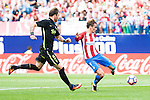Atletico de Madrid's player Antoine Griezmann and Sporting de Gijon's player Fernando Amorebieta during a match of La Liga Santander at Vicente Calderon Stadium in Madrid. September 17, Spain. 2016. (ALTERPHOTOS/BorjaB.Hojas)