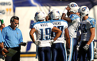 Sept. 17, 2006; San Diego, CA, USA; Tennessee Titans head coach Jeff Fisher in the huddle with his team during a time out against the San Diego Chargers at Qualcomm Stadium in San Diego, CA. Mandatory Credit: Mark J. Rebilas