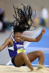 BROOKINGS, SD - FEBRUARY 25:  Ashley Graham from Western Illinois has her hair fly as she lands in the pit during the women's triple jump at the 2017 Summit League Indoor Track and Field Championship Saturday afternoon in Brookings, SD. (Photo by Dave Eggen/Inertia)