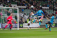 Amari'i Bell of Fleetwood Town heads at goal during the Sky Bet League 1 match between Plymouth Argyle and Fleetwood Town at Home Park, Plymouth, England on 7 October 2017. Photo by Mark  Hawkins / PRiME Media Images.
