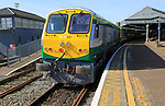Inter city train at railway station platform, Cork, County Cork, Ireland, Irish Republic