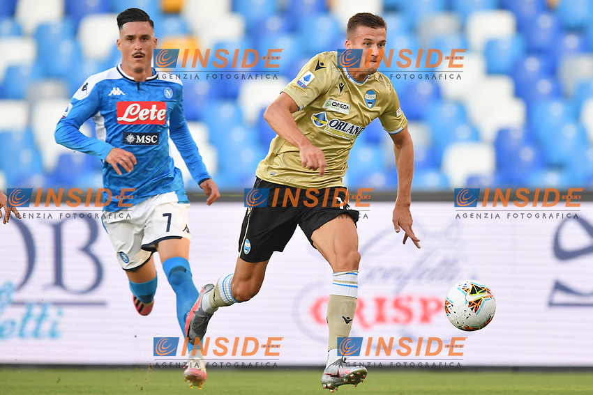 Arkadiusz Reca of SPAL control the ball during the Serie A football match between SSC  Napoli and SPAL at stadio San Paolo in Naples ( Italy ), June 28th, 2020. Play resumes behind closed doors following the outbreak of the coronavirus disease. <br /> Photo Carmelo Imbesi / Insidefoto