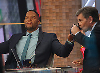 February 13, 2020 Michael Strahan, George Stephanopoulos at Good Morning America in NewYork.February 13, 2020. Credit:  RW/MediaPunch