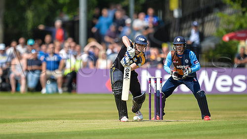 12.07.2015.  Chesterfield, England. Natwest T20 Blast. Derbyshire versus Yorkshire. Alex Lees of Yorkshire playing a shot down the ground.