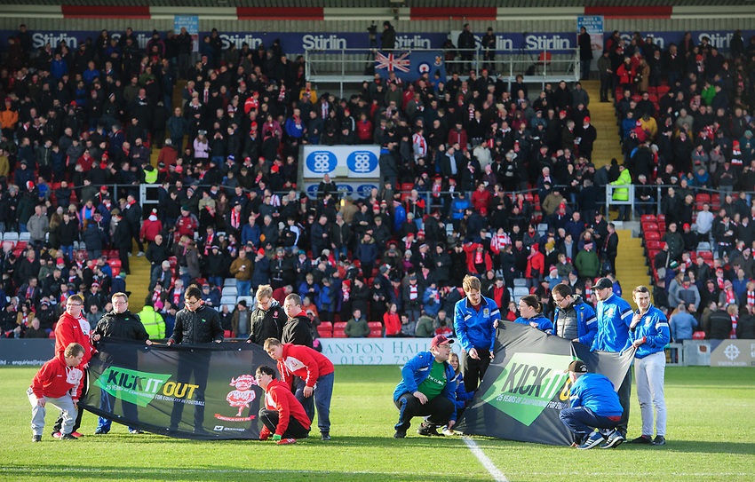 Representatives from Lincoln City DS Active and Northampton Town DS Active hold the Kick It Out banner prior to the game<br /> <br /> Photographer Chris Vaughan/CameraSport<br /> <br /> The EFL Sky Bet League Two - Lincoln City v Northampton Town - Saturday 9th February 2019 - Sincil Bank - Lincoln<br /> <br /> World Copyright © 2019 CameraSport. All rights reserved. 43 Linden Ave. Countesthorpe. Leicester. England. LE8 5PG - Tel: +44 (0) 116 277 4147 - admin@camerasport.com - www.camerasport.com