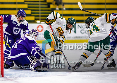 2 February 2020: University of Vermont Catamount Forward Theresa Schafzahl, a Sophomore from Weiz, Austria, tries to get the puck past Holy Cross Crusaders Goaltender Jada Brenon, during second period action at Gutterson Fieldhouse in Burlington, Vermont. The Lady Cats rallied in the 3rd period to tie the Crusaders 2-2 in NCAA Women's Hockey East play. Mandatory Credit: Ed Wolfstein Photo *** RAW (NEF) Image File Available ***