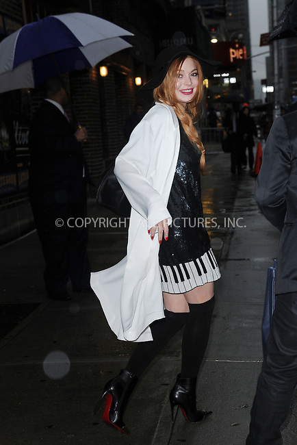 WWW.ACEPIXS.COM <br /> April 7, 2014 New York City<br /> <br /> Lindsay Lohan after taping an appearance on the Late Show with David Letterman on April 7, 2014 in New York City.<br /> <br /> Please byline: Kristin Callahan  <br /> <br /> ACEPIXS.COM<br /> Ace Pictures, Inc<br /> tel: (212) 243 8787 or (646) 769 0430<br /> e-mail: info@acepixs.com<br /> web: http://www.acepixs.com