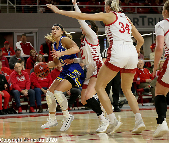 VERMILLION, SD - JANUARY 19: Rylie Cascio Jensen #2 of the South Dakota State Jackrabbits eyes then basket past the defense from the South Dakota Coyotes at the Sanford Coyote Center on January 19, 2020 in Vermillion, South Dakota. (Photo by Dave Eggen/Inertia)