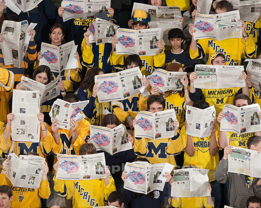 University of Michigan men's ice hockey 5-4 OT victory over Western Michigan on Senior Night at Yost Ice Arena in Ann Arbor, MI, on February 19, 2011.