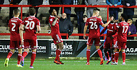 Accrington Stanley's Erico Sousa celebrates scoring his side's equalising goal to make the score 1-1<br /> <br /> Photographer Alex Dodd/CameraSport<br /> <br /> EFL Checkatrade Trophy - Northern Section Group B - Accrington Stanley v Blackpool - Tuesday 3rd October 2017 - Crown Ground - Accrington<br />  <br /> World Copyright &copy; 2018 CameraSport. All rights reserved. 43 Linden Ave. Countesthorpe. Leicester. England. LE8 5PG - Tel: +44 (0) 116 277 4147 - admin@camerasport.com - www.camerasport.com