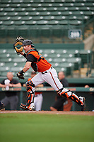 GCL Orioles catcher Jordan Cannon (35) during a Gulf Coast League game against the GCL Braves on August 5, 2019 at Ed Smith Stadium in Sarasota, Florida.  GCL Orioles defeated the GCL Braves 4-3 in the first game of a doubleheader.  (Mike Janes/Four Seam Images)