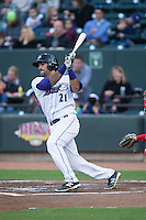 Nick Basto (21) of the Winston-Salem Dash follows through on his swing against the Salem Red Sox at BB&T Ballpark on April 15, 2016 in Winston-Salem, North Carolina.  The Red Sox defeated the Dash 3-2.  (Brian Westerholt/Four Seam Images)