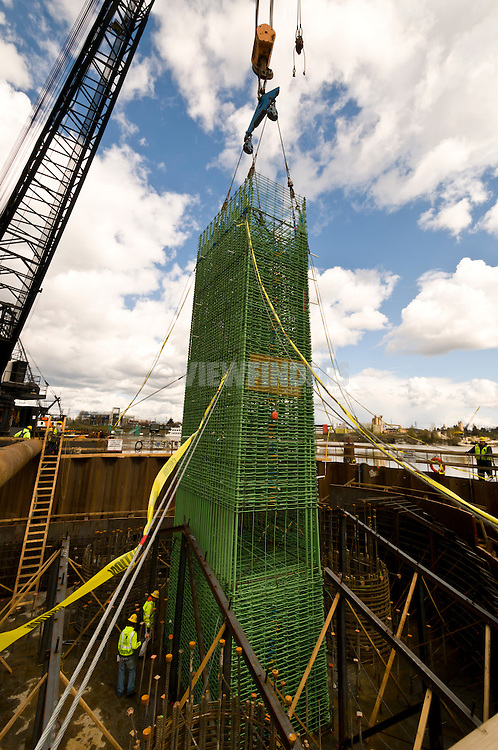 Rebar cages being placed during construction of Trimet's Portland-Milwaukie Light Rail Bridge project.