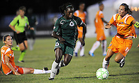 Eniola Aluko takes the ball into the penalty box..Saint Louis Athletica defeated Sky Blue F.C 1-0, at The Anheuser-Busch Soccer Park, Fenton, Missouri.