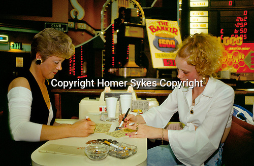Bingo UK women smoking  playing Bingo Club  north London. 1990s 90s
