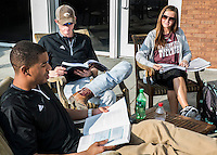 Students Study Outside of Union, State Spotlight<br /> (photo by Mitch Phillips / &copy; Mississippi State University)