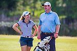 HOWEY IN THE HILLS, FL - MAY 11: Coach Brian Farrer and Jorie Hodapp of the Berry Colege women's golf team share a laugh while waiting to tee off during the Division III Women's Golf Championship. The Claremont Mudd Scripps won the team and individual (Margaret Loncki) First Place Championships during the Division III Women's Golf Championship held at the Mission Inn Resort & Club on May 11, 2018 in Howey-In-The-Hills, Florida. (Photo by Matt Marriott/NCAA Photos via Getty Images)