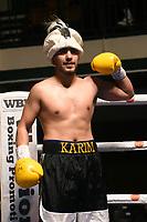 Karim Khan (black shorts) defeats Joe Fisher during a Boxing Show at York Hall on 15th February 2020