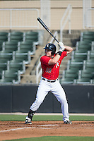 Mason Robbins (10) of the Kannapolis Intimidators at bat against the Hickory Crawdads at CMC-Northeast Stadium on May 21, 2015 in Kannapolis, North Carolina.  The Intimidators defeated the Crawdads 2-0 in game one of a double-header.  (Brian Westerholt/Four Seam Images)