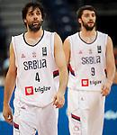 Kosarka FIBA Olympic Basketball Qualifying Tournament<br /> Srbija v Puerto Rico<br /> Milos Teodosic (L) and Stefan Markovic<br /> Beograd, 04.07.2016.<br /> foto: Srdjan Stevanovic/Starsportphoto&copy;