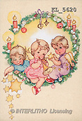 Interlitho, CHRISTMAS SANTA, SNOWMAN, nostalgic, paintings, 3 angels, wreath, star(KL5620,#X#) Weihnachten, nostalgisch, Navidad, nostálgico, illustrations, pinturas