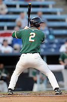 Greensboro Grasshoppers left fielder Aaron Senne #2 awaits a pitch during game one of the South Atlantic League, Southern Division playoffs between the Greensboro Grasshoppers and the Asheville Tourists at McCormick Field on September 10, 2012 in Asheville, North Carolina . The Grasshoppers defeated the Tourists 6-3. (Tony Farlow/Four Seam Images).