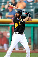 Dustin Ackley (6) of the Salt Lake Bees bats against the Reno Aces in Pacific Coast League action at Smith's Ballpark on June 15, 2017 in Salt Lake City, Utah. The Aces defeated the Bees 13-5. (Stephen Smith/Four Seam Images)