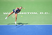 Washington, DC - August 4, 2019: Camila Giorgi (ITA) serves the ball against Jessica Pegula (USA) NOT PICTURED during the WTA Citi Open Woman's Finals at Rock Creek Tennis Center, in Washington D.C. (Photo by Philip Peters/Media Images International)