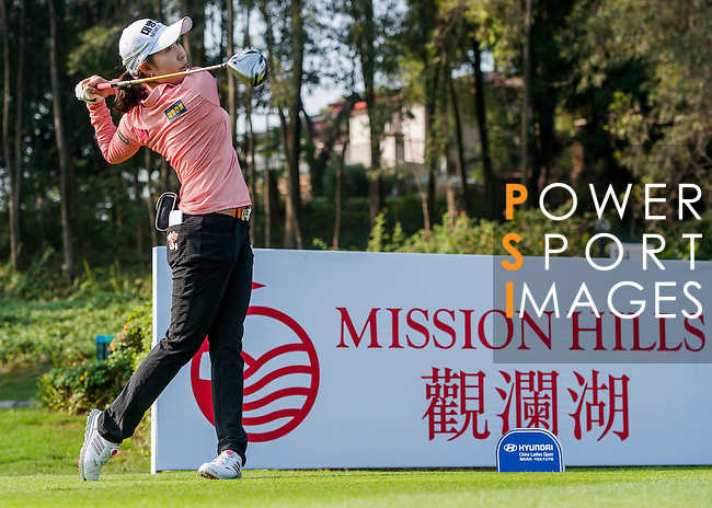 Soo-Hwa Jang of Korea in action during the Hyundai China Ladies Open 2014 Pro-am on December 09 2014 at Mission Hills Shenzhen, in Shenzhen, China. Photo by Xaume Olleros / Power Sport Images