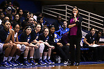 19 December 2014: Duke head coach Joanne P. McCallie. The Duke University Blue Devils hosted the University of Massachusetts Lowell River Hawks at Cameron Indoor Stadium in Durham, North Carolina in a 2014-15 NCAA Division I Women's Basketball game. Duke won the game 95-48.