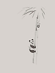 Cute big panda and a baby panda climbing bamboo trees, artistic design, oriental style painting illustration isolated on light warm gray background