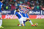 Lluis Sastre Reus (l) of Deportivo Leganes competes for the ball with Filipe Luis of Atletico de Madrid during their La Liga match between Atletico de Madrid and Deportivo Leganes at the Vicente Calderón Stadium on 04 February 2017 in Madrid, Spain. Photo by Diego Gonzalez Souto / Power Sport Images