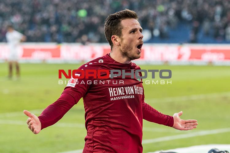 09.02.2019, HDI Arena, Hannover, GER, 1.FBL, Hannover 96 vs 1. FC Nuernberg<br /> <br /> DFL REGULATIONS PROHIBIT ANY USE OF PHOTOGRAPHS AS IMAGE SEQUENCES AND/OR QUASI-VIDEO.<br /> <br /> im Bild / picture shows<br /> Jubel 2:0, Nicolai M&uuml;ller / Mueller (Neuzugang Hannover 96 #21) bejubelt seinen zweiten Treffer im Spiel,  <br /> <br /> Foto &copy; nordphoto / Ewert