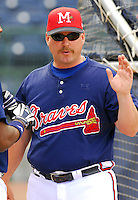 24 April 2007: Phillip Wellman of the Mississippi Braves, the Atlanta Braves' Class AA affiliate of the Southern League, in a game against the Birmingham Barons at Trustmark Park in Pearl, Miss. Photo by:  Tom Priddy/Four Seam Images