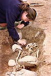 Moira O'Rourke examining the remains which were uncovered beside the Inse Bay building site in Laytown..Picture Paul Mohan Newsfile