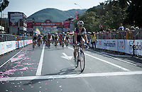 Sylvain Chavanel (FRA/IAM) is one of the many riders coming in very late (after the podium ceremony has already finished)<br /> <br /> 2015 Giro<br /> st4: Chiavari - La Spezia (150km)