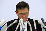 October 27, 2017, Tokyo, Japan -  Japanese automaker Subaru president Yasuyuki Yoshinaga speaks before press that the company has been carrying out flawed inspections of their vehicles at the Subaru headquarters in Tokyo on Friday, October 27, 2017.    (Photo by Yoshio Tsunoda/AFLO) LWX -ytd-