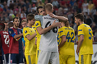 Members of team celebrate their victory after the UEFA Europa League match between Hungary's Videoton FC and Belarus' FC BATE Borisov at the Groupama Arena stadium in Budapest, Hungary on Sept. 20, 2018. ATTILA VOLGYI