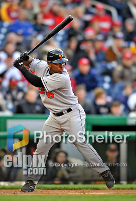 29 March 2008: Baltimore Orioles' infielder Melvin Mora in action during an exhibition game against the Washington Nationals at Nationals Park, in Washington, DC. The matchup was the first professional baseball game played in the new Nationals Park, prior to the upcoming official opening day inaugural game. The Nationals defeated the Orioles 3-0...Mandatory Photo Credit: Ed Wolfstein Photo