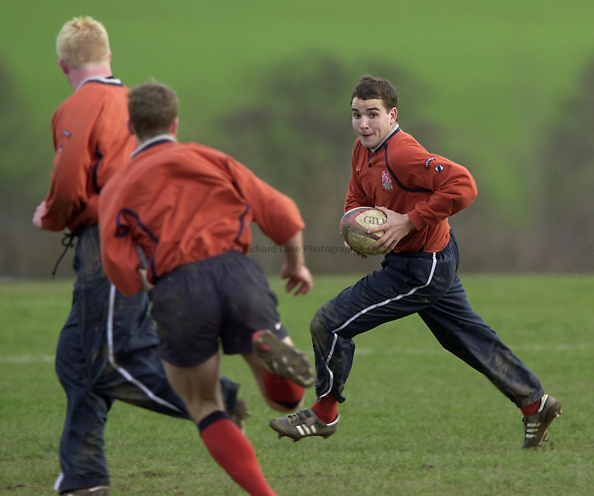England Under 21's training.  Warwick University..Photo. Richard Lane..14-2-2002.Oliver Barkley running through the moves with James Simpson-Daniel and Alex Crockett running the lines