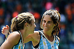 The Hague, Netherlands, June 14: Mariana Rossi #2 of Argentina (R) and Daniela Sruoga #18 of Argentina (L) celebrate? after winning the field hockey bronze medal match (Women) between USA and Argentina on June 14, 2014 during the World Cup 2014 at Kyocera Stadium in The Hague, Netherlands. Final score 2-1 (2-1)  (Photo by Dirk Markgraf / www.265-images.com) *** Local caption ***
