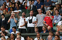 Fans of Lucas Pouille (FRA) during his match against Roger Federer (SUI) in their Gentleman's Singles Third Round match<br /> <br /> Photographer Rob Newell/CameraSport<br /> <br /> Wimbledon Lawn Tennis Championships - Day 6 - Saturday 6th July 2019 -  All England Lawn Tennis and Croquet Club - Wimbledon - London - England<br /> <br /> World Copyright © 2019 CameraSport. All rights reserved. 43 Linden Ave. Countesthorpe. Leicester. England. LE8 5PG - Tel: +44 (0) 116 277 4147 - admin@camerasport.com - www.camerasport.com
