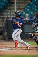 Mississippi Braves Trey Harris (22) at bat during a Southern League game against the Jackson Generals on July 23, 2019 at The Ballpark at Jackson in Jackson, Tennessee.  Mississippi defeated Jackson 1-0 in the second game of a doubleheader.  (Mike Janes/Four Seam Images)